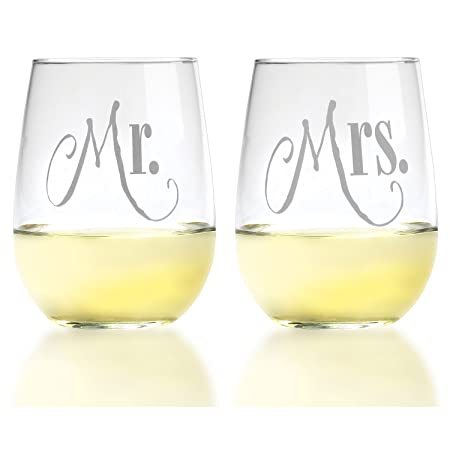 Mr. & Mrs. Wine Glass Set With Gift Box