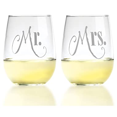 Mr. & Mrs. Wine Glass Set - Rich Silver Lettering on Stemless Glasses - For Couples - Engagement, Wedding, Anniversary, House Warming, Hostess Gift, 17 ounce