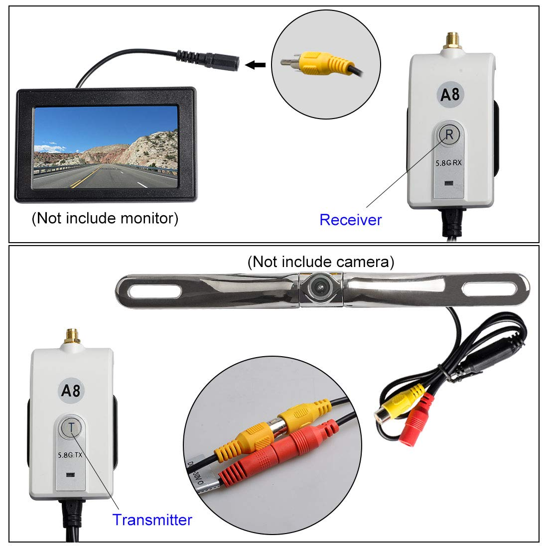 AKK 625-600-A8 5.8G Wireless Video Transmitter /& Receiver Kit for Car Vehicle Backup Camera or Front Car Camera Rear Backup Camera System