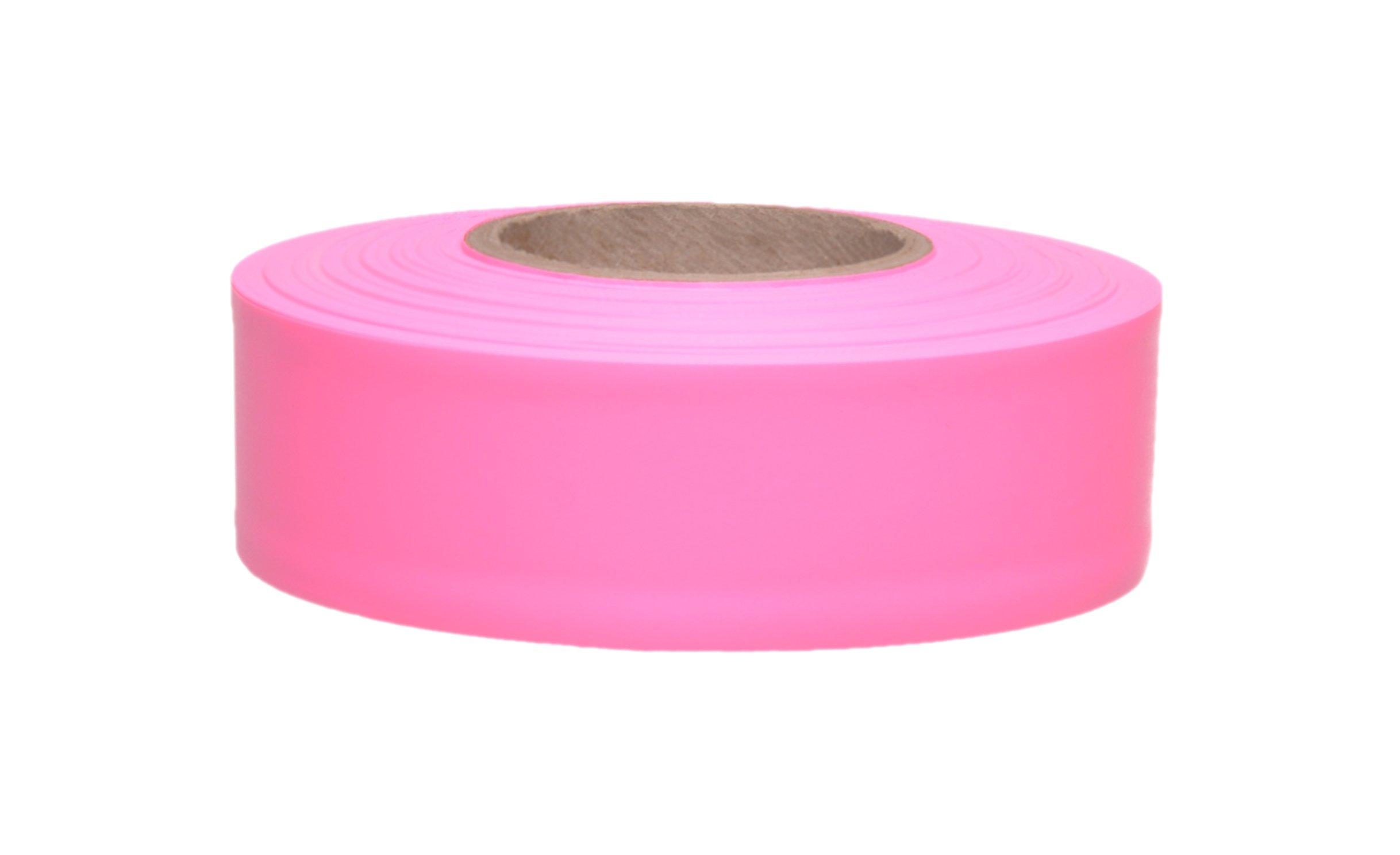 Presco TFPG-658 150' Length x 1-3/16'' Width, PVC Film, Taffeta Pink Glo Solid Color Roll Flagging (Pack of 144)