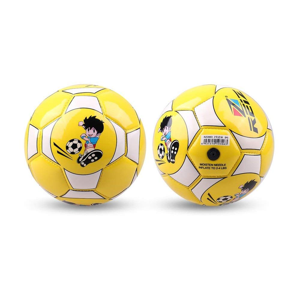 Size 2 Standard PU Leather Soccer Ball Training Football With Net Needle Yellow