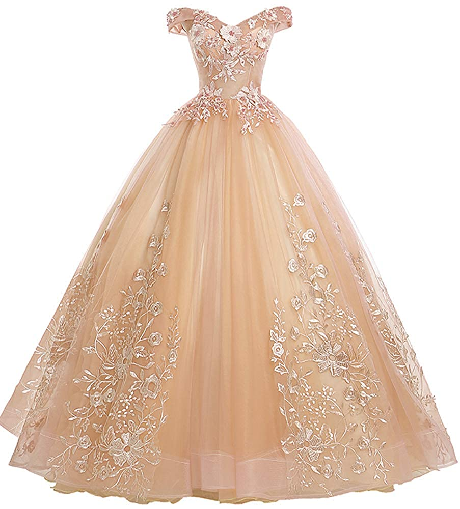 Champagne EileenDor Women's Quinceanera Dresses Lace Appliques Off Shoulder Ball Gown Sweet 16 Dresses with Pearl