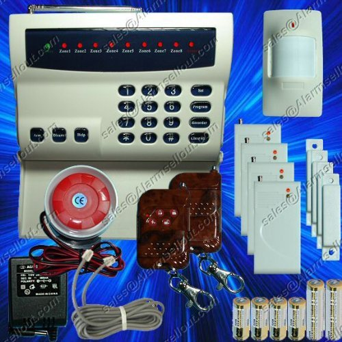 Wireless Home Security System w/ Phone Dialer --- LED Display for Burglar and Fire Alarm --- Protects House and ()