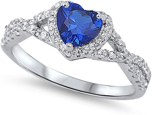 CloseoutWarehouse Round Cut Simulated Sapphire Cubic Zirconia Ring Sterling Silver