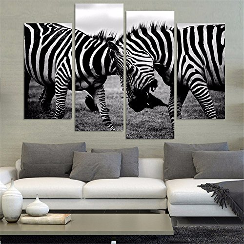 4 Piece Two Zebra Animals Canvas Print Oil Painting Home Decor Wall Art Picture For Room(No Frame) (Zebra Kitchen Decor compare prices)