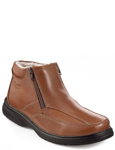 Botas de Cuero forradas con Polar con Cremallera Doble, para Hombre: Amazon.es: Zapatos y complementos
