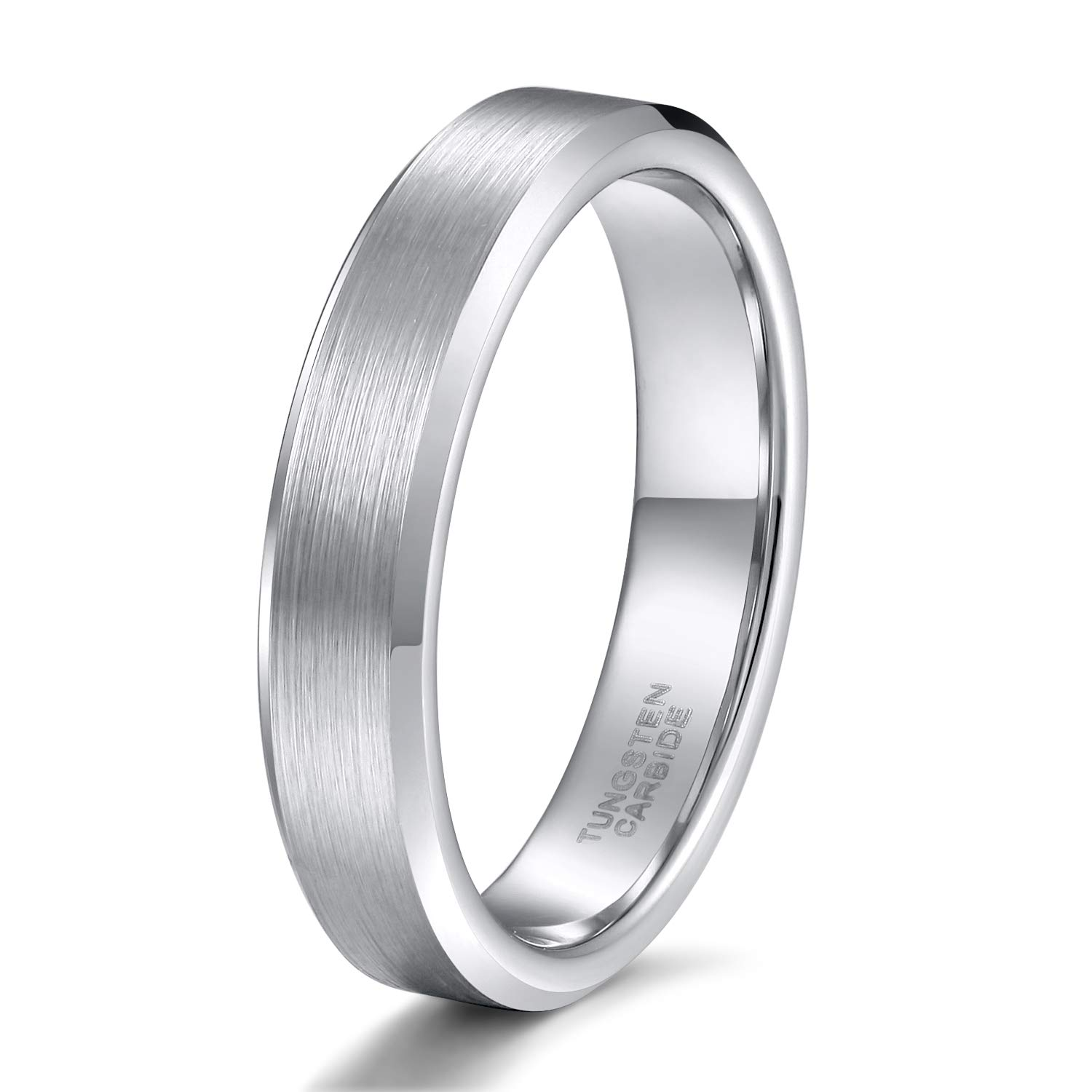 Shuremaster 4mm 6mm 8mm Tungsten Carbide Wedding Ring Band for Men Women Blue/Black/ Silver Comfort Fit Size 4-15 Shure-6954L