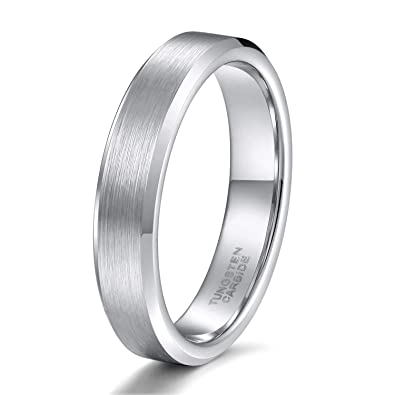 b17c6be9b1ddd Shuremaster 4mm 6mm 8mm Tungsten Rings Men Women Matte Brushed Silver/Black  and Blue Wedding Band Comfort Fit Size 4-15