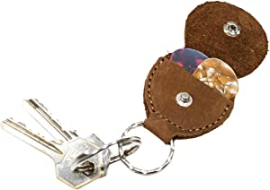 Rustic Leather Guitar Pick Holder Key Chain Handmade by Hide & Drink :: Swayze Suede
