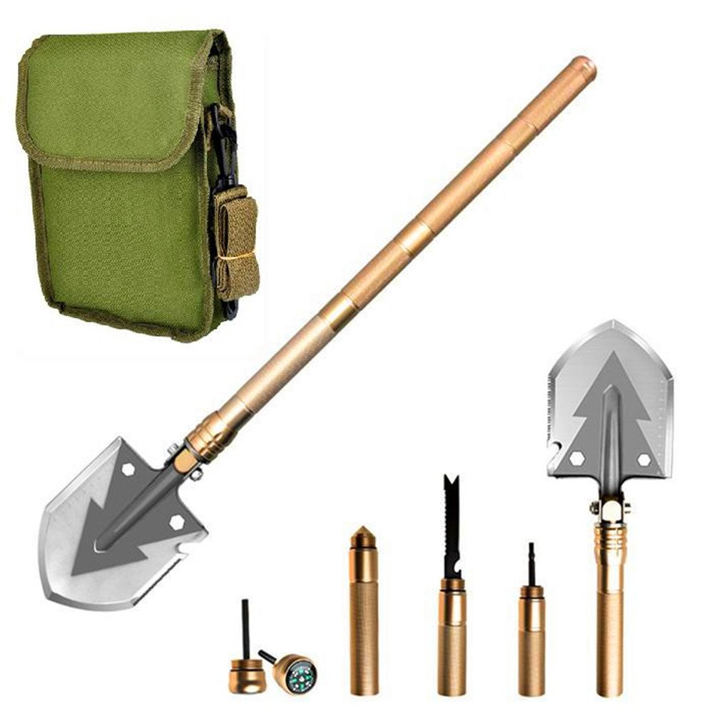 MontoSun Folding Camping Shovel Snow Shovel,Military Outdoor Shovel Kit (5 Piece) Survival Gear Entrenching Tool with Carrying Pouch Metal Handle for Hunting Camping Hiking Fishing Snow Car