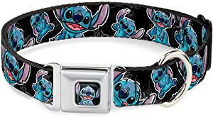 Buckle-Down Dog Collar Seatbelt Buckle Stitch Poses Hibiscus Sketch Black Gray Blue Available In Adjustable Sizes For Small Medium Large Dogs
