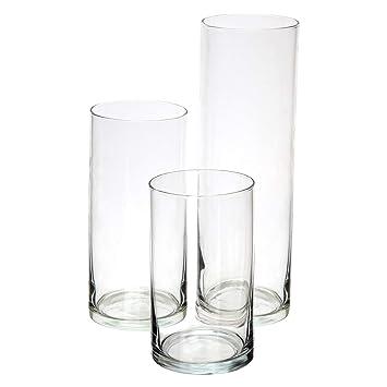 Amazoncom Royal Imports Glass Cylinder Vases Set Of 3 Decorative