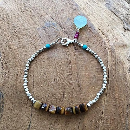 Tigers Eye Bracelet | Thai Karen Hill Tribe Silver | Ruby | Turquoise | Chalcedony | One Of A Kind