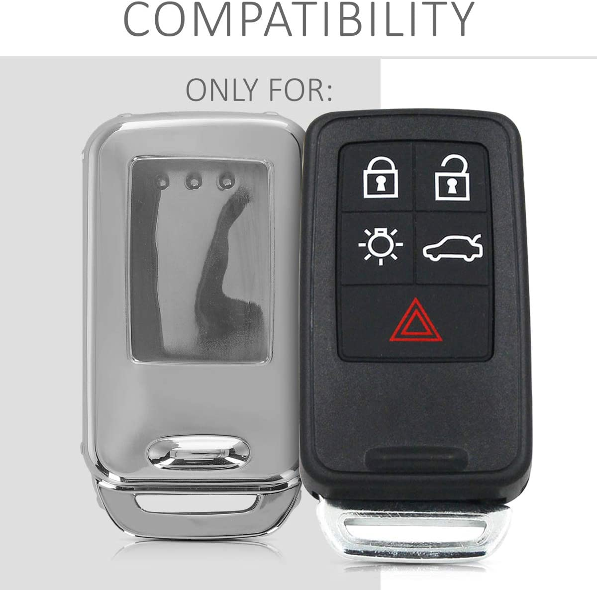 kwmobile Car Key Cover for Volvo Soft TPU Silicone Full Body Protective Key Fob Case for Volvo 5-6-Button Car Key only Keyless - Silver High Gloss