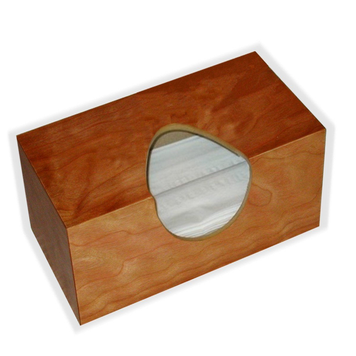 Wooden Tissuecover American Cherry Figure Veneer Rectangular Family Size. (Puffs Opening Wihout Bottom)