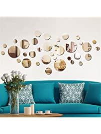 Aooyaoo Solid Circle Wall Stickers Circle Mirror DIY Living Room/bedroom/decoration  28pcs