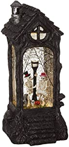 "RAZ Imports Skeleton Lighted Water Lantern 11"" Halloween Snow Globe with Swirling Glitter"