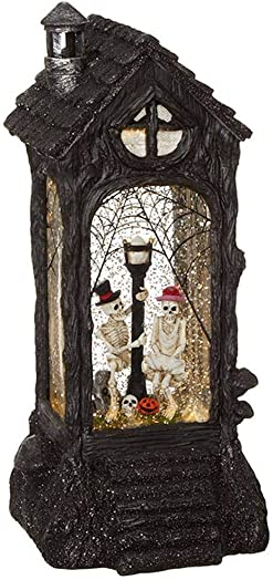 RAZ Imports Skeleton Lighted Water Lantern 11 Halloween Snow Globe with Swirling Glitter