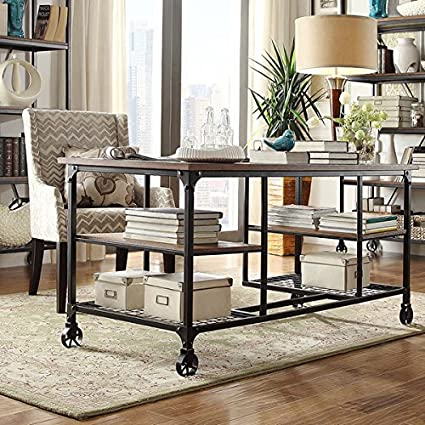Nelson Industrial Modern Rustic Storage Desk With Decorative Wheels That Do  Not Roll