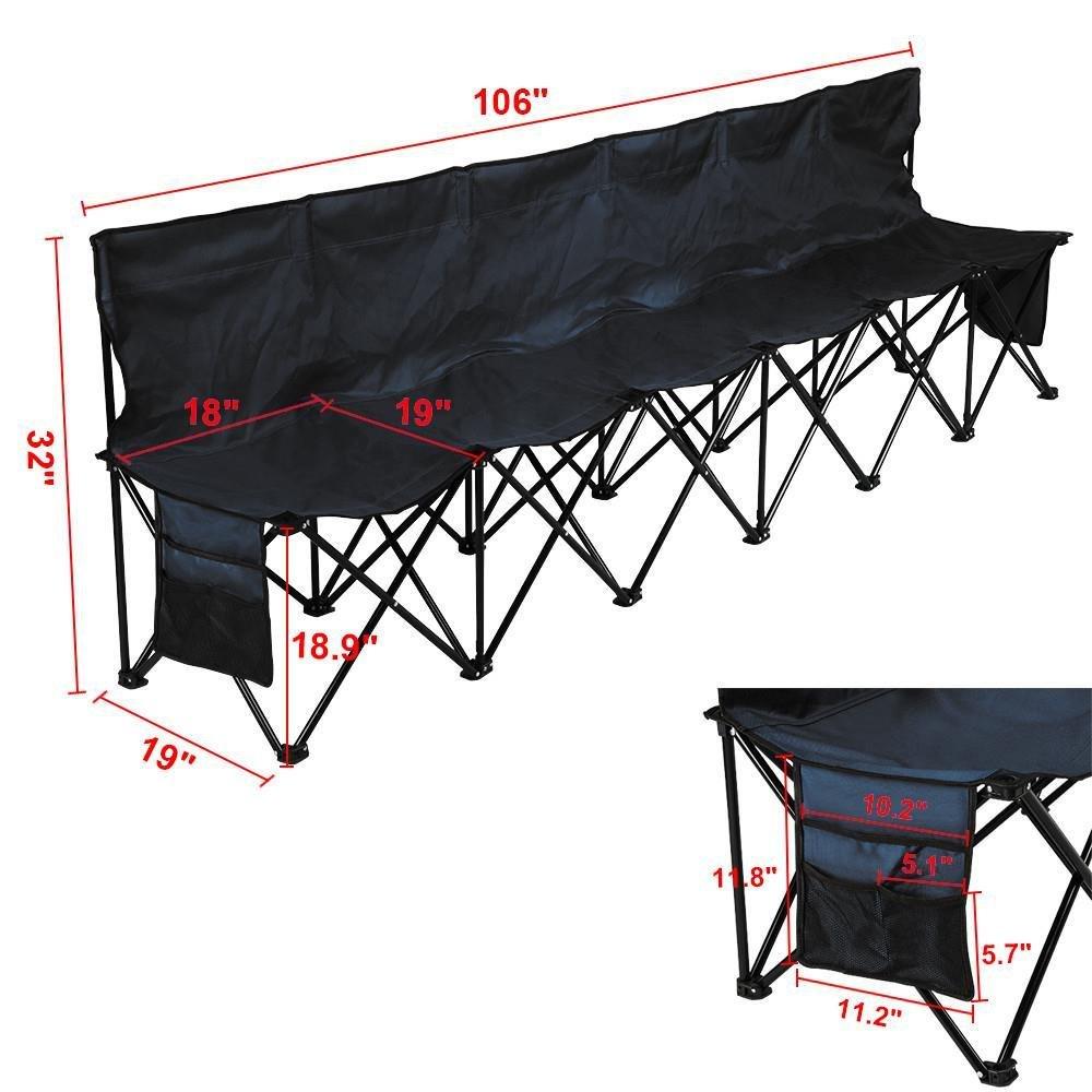 Yaheetech 6 Seats Portable Sideline Folding Bench Soccer Team Bleacher Chair Outdoor Sports Black W Carry Bag