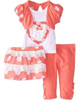 Young Hearts Infant Girls Coral & White Top Leggings Skirt Outfit 3 PC Set