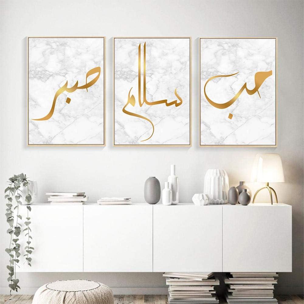 HGNFD Islámica Musulmana Pared Arte Cuadros Lienzo Pintura para Sala de Estar decoración del hogar-50x70cmx3 Piezas sin Marco