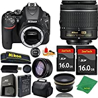Great Value Bundle for D5500 DSLR – 18-55mm AF-P + 2PCS 16GB Memory + Wide Angle + Telephoto Lens + Case