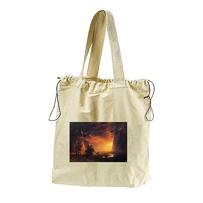 Sunrise In The Sierras (Bierstadt) Canvas Drawstring Beach Tote Bag