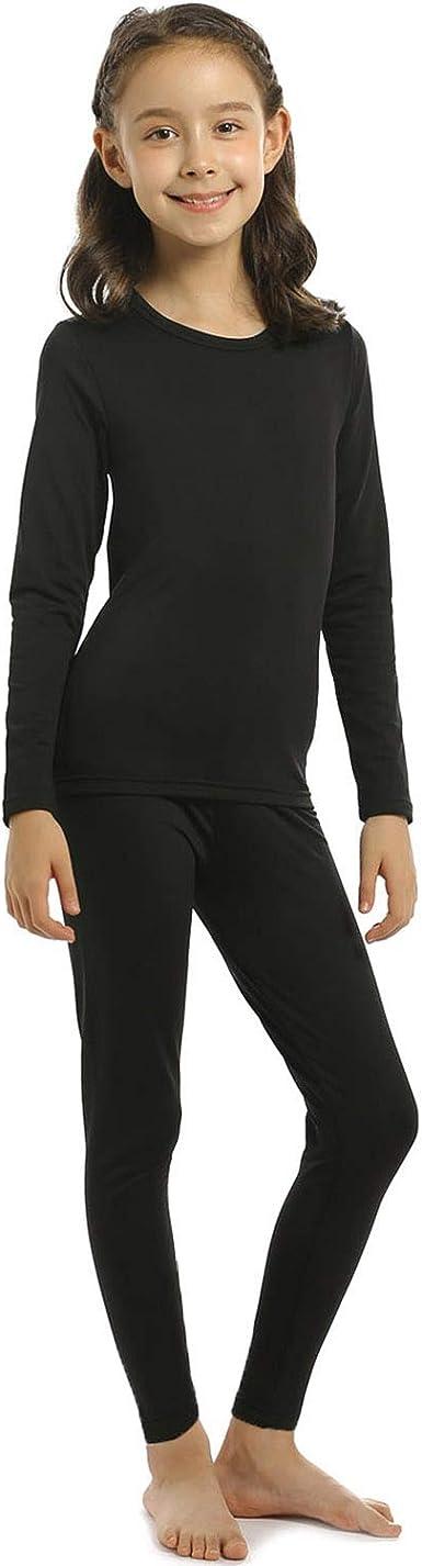 Kuetas Girls Thermal Underwear Set Kids Long Johns Fleece Lined Base Layer Ultra Soft Undershirt