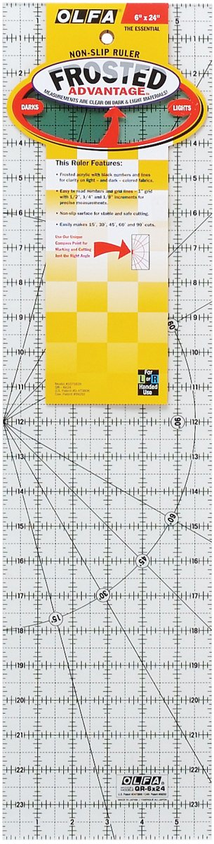 Olfa Frosted Advantage 6'' x 24'' Quilting Ruler - The Essential by OLFA