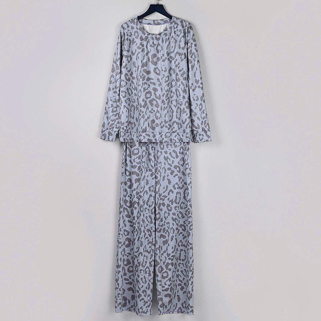 SADUORHAPPY Leopard Print Pants Sets for Women Tracksuit Leisure Wear Lounge Wear Suit 2Pcs