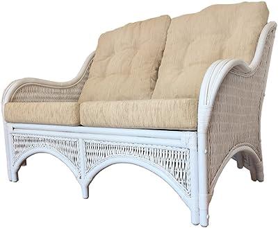 Rattan Lounge Loveseat/Sofa Karmen Color Dark Brown with Cushions (White Wash)