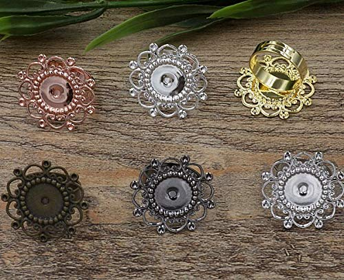 Silver 12mm Cute Flower - 3D Flower Cabochon Tray Rings | Blank Cameo Tray | Bronze Gold Silver Black Rings | DIY Jewelry Finding (30pcs 12mm)