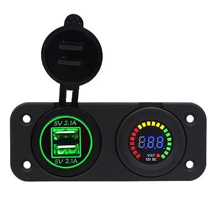 Gazechimp Panel de Cargador Dual USB Voltímetro 12v 2en1 Accesorio para Automóvil Autocaravanas de Universal - Verde