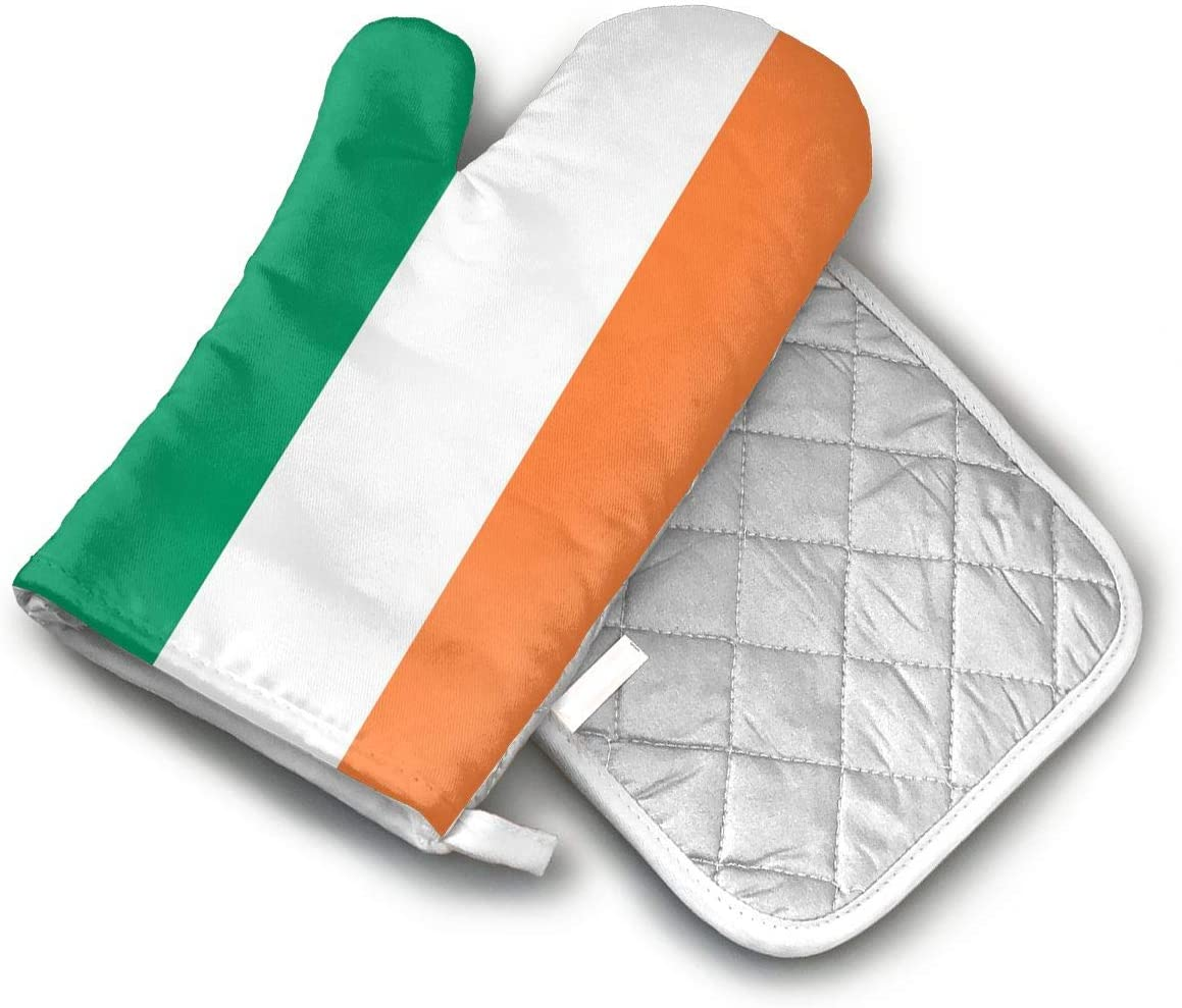 LSFHUn Ireland Flag Oven Gloves Microwave Gloves Barbecue Gloves Kitchen Cooking Bake Heat Resistant Gloves Combination