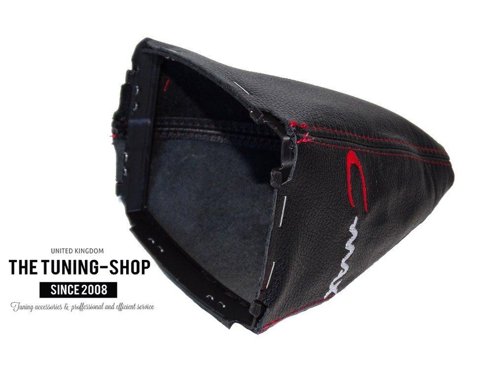 rotes Stickmotiv in Schwarz Schaltsack mit Kunststoffrahmen Echtleder