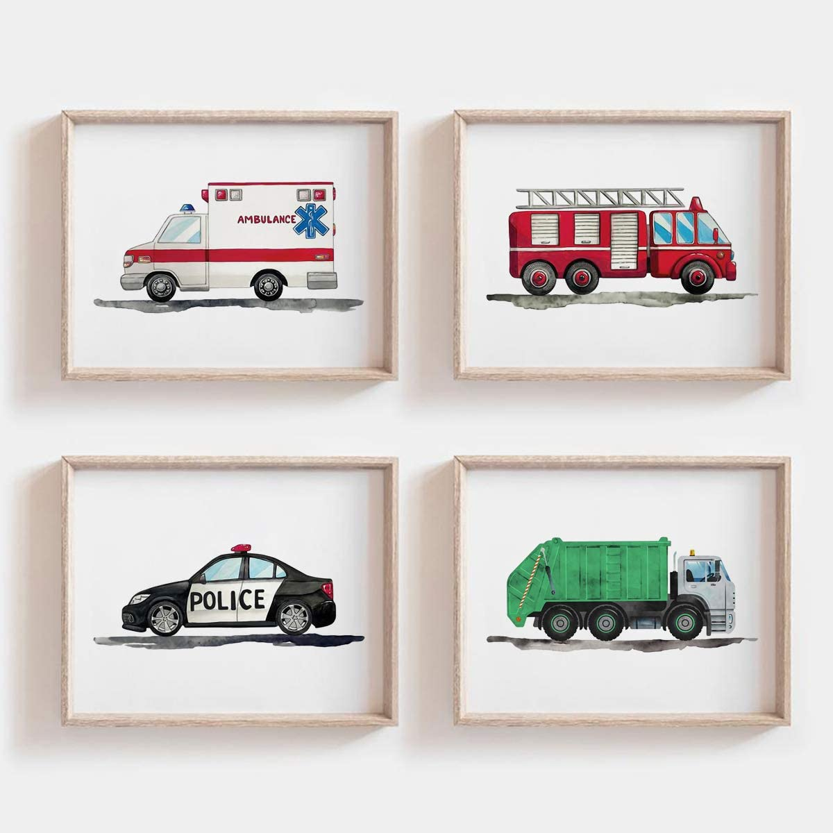 MoharWall Baby Bedroom Ambulance Prints Kids Gallery Wall Set Police Car Wall Art Fire Truck Print Nursery Watercolor Painting Garbage Truck Vehicle Decor