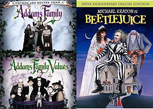 Tim Burton Beetlejuice Movie DVD & The Addams Family 2 / Values Weird Fantasy 3 Movie Bundle Fun set IT'S - Time Remakes Best All Of