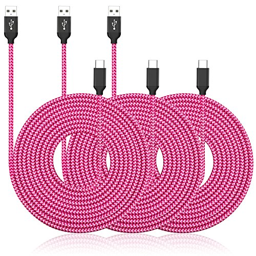 USB Type C Cable, UMECORE Extra Long USB Charger (10ft, 3 Pack) Nylon Braided Fast Charging Cord for Samsung Galaxy S10 S9 S8 Note 8, LG V30, Nintendo Switch, OnePlus 6 5 (Pink)