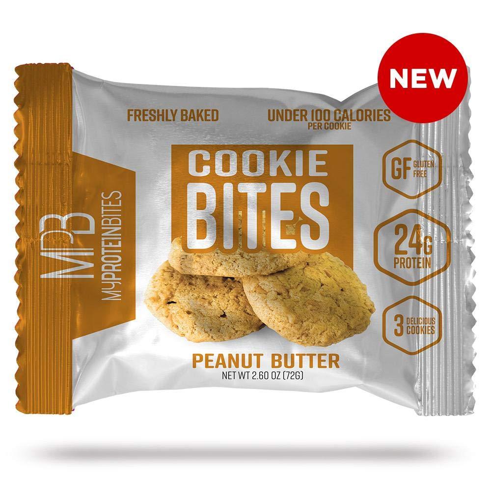 My Protein Bites | Protein Cookies | 24 Grams Of Protein, Low Carbs & Low Sugar | Gluten Free | (8 Packs of 3 Cookies (24 Cookies) Peanut Butter)