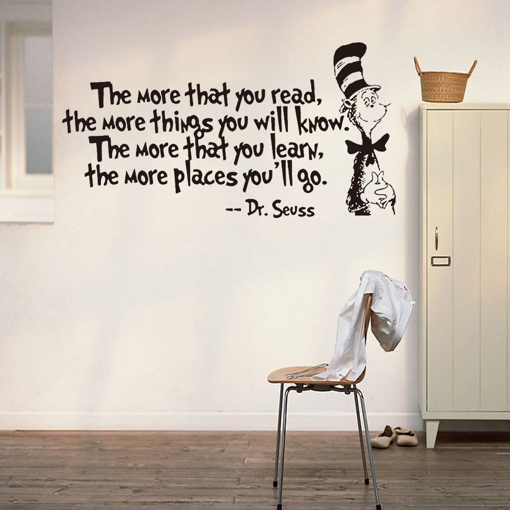 Removable Quotes and Saying Dr. Seuss the More You Read, the More Things You Will Know Transfers Murals Reading Wall Decal Love Baby Kids Children Bedroom School Art Wall Decals Stickers by Dofel (Image #9)