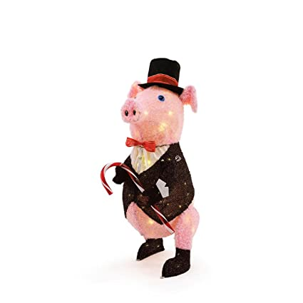 27 inch new dapper pig lighted outdoor christmas decoration - Pig Christmas Decorations Outdoors