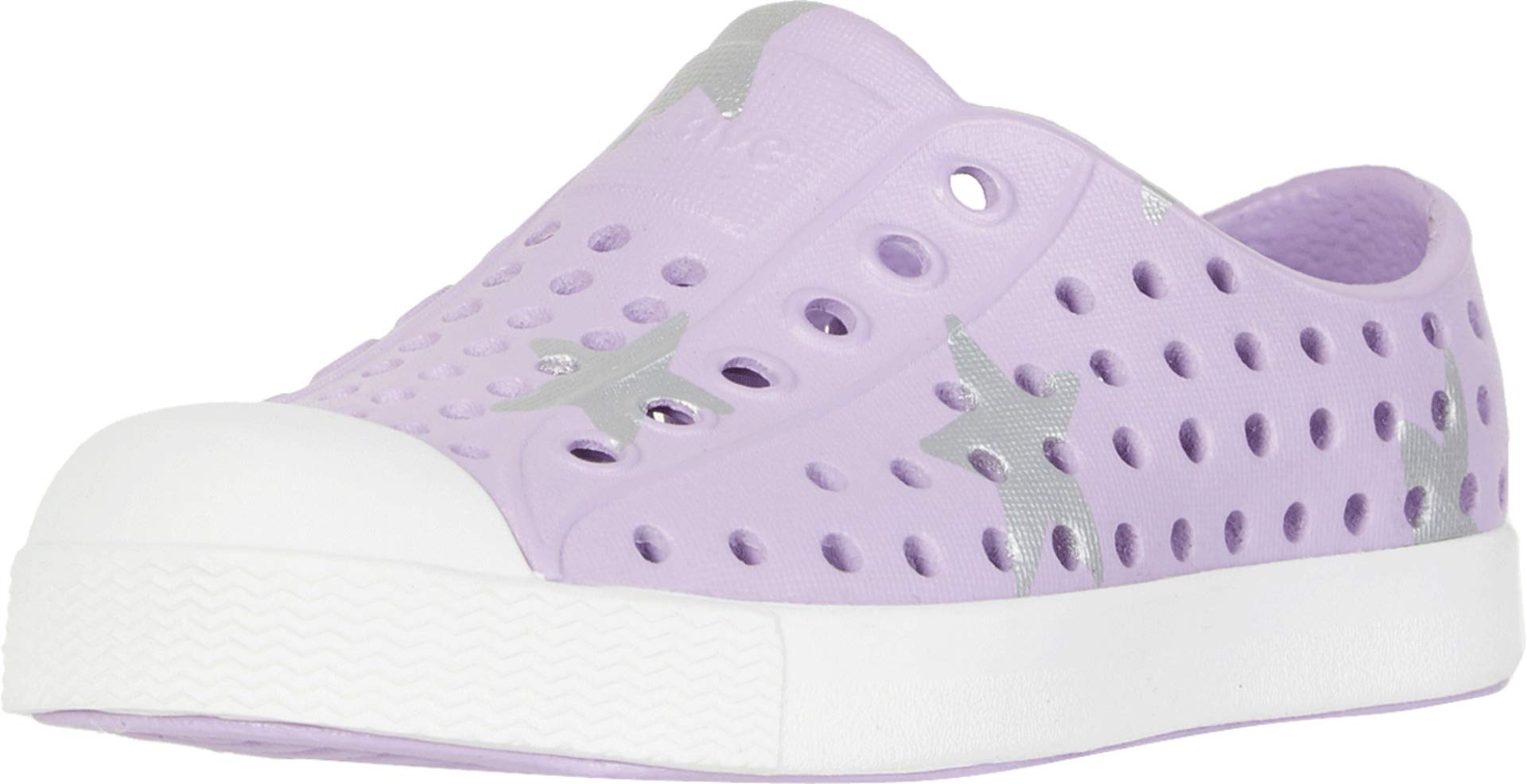 Native Kids Shoes Baby Girl's Jefferson Print (Toddler/Little Kid) Lavender Purple/Shell White/Silver Big Star 4 M US Toddler