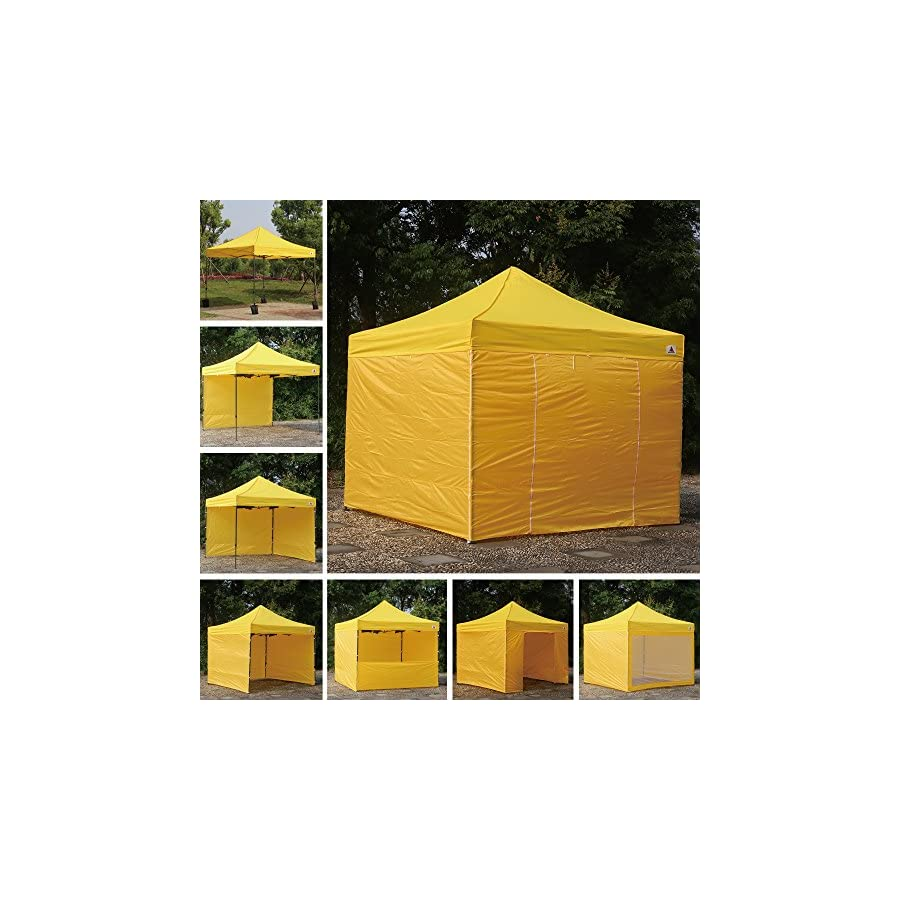 ABCCANOPY (23+ colors) Commercial 10x10 Ez Pop up Canopy, Party Tent, Fair Gazebo with 6 Zipped End Sidewalls and Roller Bag Bonus 4x Weight Bag