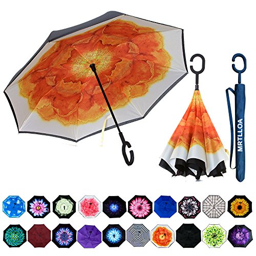 Cheap  MRTLLOA Double Layer Inverted Umbrella with C-Shaped Handle, Anti-UV Waterproof Windproof Straight..