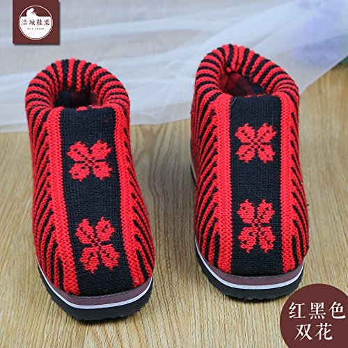 LaxBa Femmes Hommes chauds dhiver Chaussons peluche antiglisse intérieur Cotton-Padded Chaussures Slipper (rouge et noir fleur double)42/43 (pour 39 ~ 40 mètres)