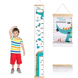 Growth Chart for Kids Boys Girls Baby Canvas Height Chart Removable Wood Hanging Wall Ruler Room Decal (Dinosaur)
