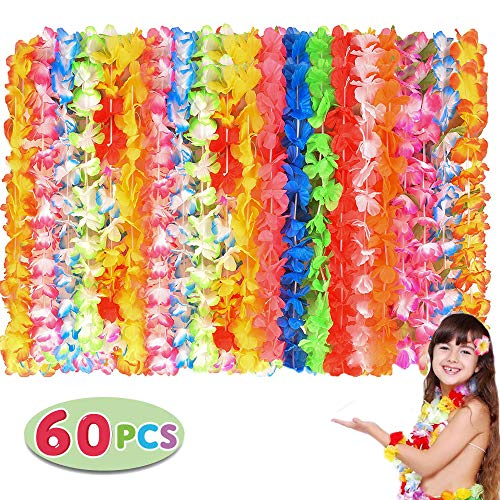 60 Counts Tropical Hawaiian Luau Flower Lei Party Favors for Party Supplies, Hawaiian Luau Decorations, Summer Beach Vacation, Tropical themed Party Favors, Birthday, Wedding
