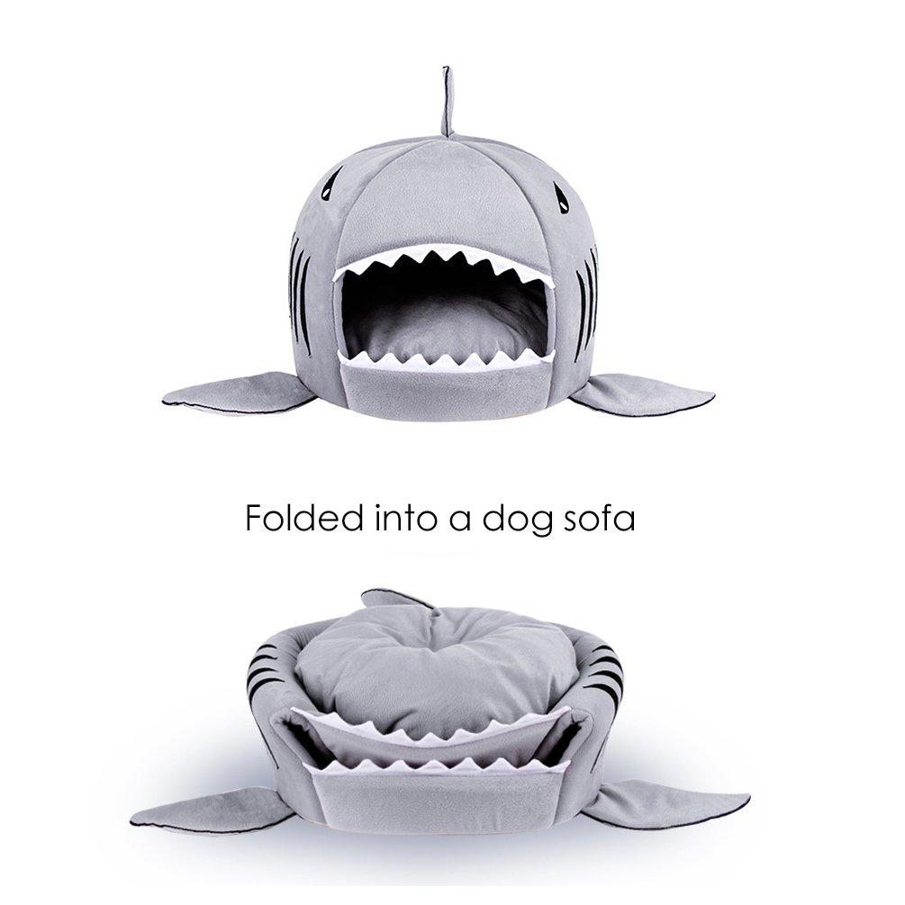 Amazon.com: Cama para mascotas de tiburón lavable para ...