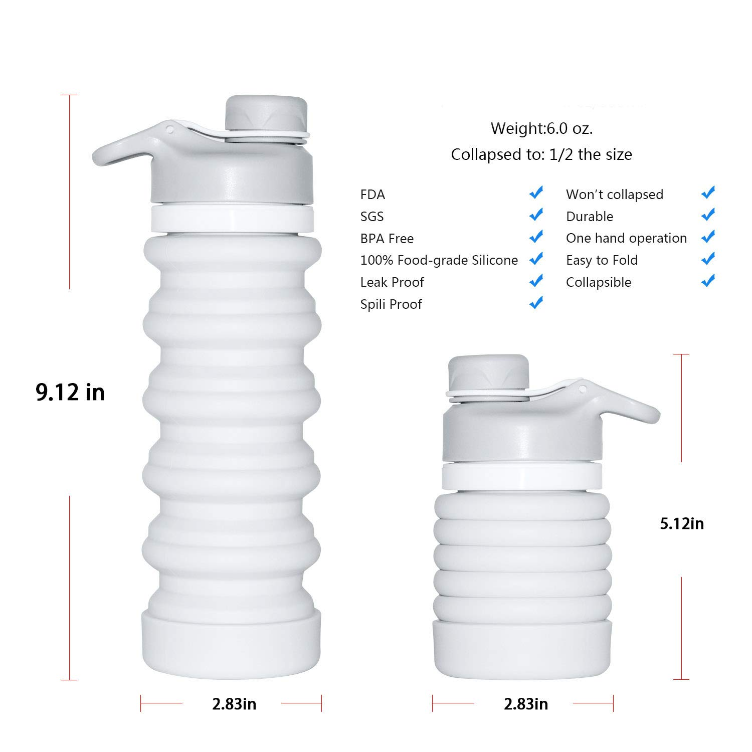 EVXVE Collapsible Water Bottle Portable Sport Water Bottle 32 oz Leak-Proof BPA Free 100% Food-Grade Silicone for Outdoor Indoor Travel Camping Hiking Cycling (Grey)